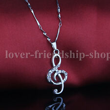 Notes 925 Sterling Silver Chain Crystal Pendants Necklace Jewelry Gift For Girls