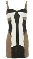 All Saints Maisie Leather Dress Statement Tan Black Amd White Sz12 RRP £358 VGC