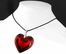 New Red Heart Love Crystal Glass Necklace Bead Pendant Woman Necklace 43mm