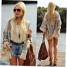 Womens Summer Blouse Sexy Floral Shirt Loose Kimono Cardigan Casual Tops zp