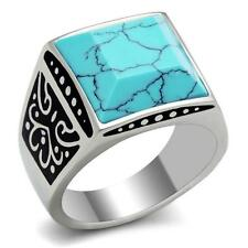 GIFT FOR MEN Size 12 X Stainless Steel Silver & Black Tone Turquoise Stone Ring