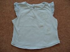 Girls Mothercare Pastel Blue Cap sleeve T-shirt Flower and frills Age 0-3 months