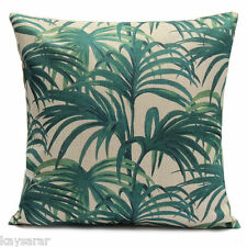 UK, GREEN PALM LEAVES Victorian Cotton Canvas CUSHION COVER Natural Classic Case