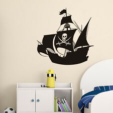 Pirate Ship With Skull Flag Vinyl Wall Sticker Removable Home Decor Bedroom