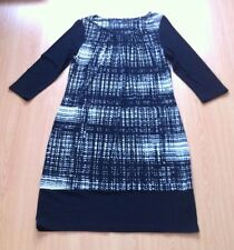 BHS Black & White Lightweight Stretchy Long Sleeve Tunic Dress Size 12 Worn Once