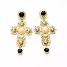 New Women Golden Cross Faux Pearl Black Bead Earrings Ear Drop Dangle Jewelry