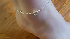 New Silver Plated 3D Heart Charm Ankle Anklet Bracelet As Pictured.