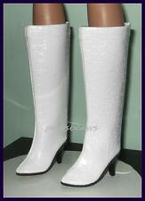"""WHITE High Heel BOOTS Shoes for 22"""" American Models 21"""" CISSY 20"""" Miss Revlon"""