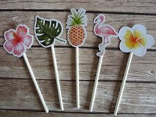12x Tropical, Flamingo, Pineapple Cupcake Toppers - Summer Party
