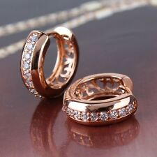 Lovely gift ! 18K rose gold filled  white sapphire alluring hoop earring