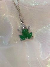 Frog Real Jade Stone Antique Silver Charm Statement necklace SALE!!! Ideal Gift
