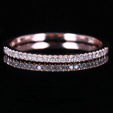 Pave 100% Genuine Natural H/SI Diamonds Band Ring Solid 10K Rose Gold Wedding