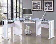Glass Computer Desk PC Table Home Office Work Furniture White New Study Gloss