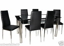 Glass Dining Table Set and with 6 Black Faux Leather Chairs Black Border Design
