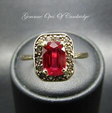 Edwardian 1905 9ct Gold Emerald cut Red Spinel and Quartz Ring Size S 2.4g