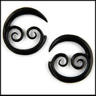 PAIR OF Tribal Spiral Horn Ear Plugs Gauges (PICK SIZE)