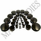 """V019 Acrylic Double Flare Black Solid Saddle Ear Plugs Earlets 10g to 2"""" inch 50 image"""