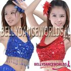 SEXY BELLY DANCE COSTUME SEQUINS FRINGE TOP 9 COLORS