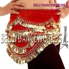 BELLY DANCE COSTUME HIP SCARF WRAP SKIRT GOLD COIN 5CLR
