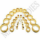 """V054 Gold Double Flare Saddle Flesh Tunnels Earlets Plugs Gauges 10G to 2"""" PAIR"""