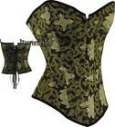 Corset Top Vintage Inspired Burlesque Black Gold Floral Brocade New DTS00128