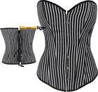 Corset Top Steampunk Thin Stripes White Black Satin Gangster Costume DTS00095
