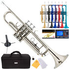 mendini bb trumpet gold silver black blue purple red tuner case carekit