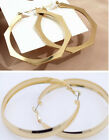 Classic large silver gold wide hoop earrings Disco glam