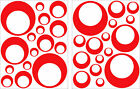 32 RED CIRCLE CIRCLE BUBBLE LOOK BEDROOM WALL DECAL STICKER VINYL GIRL TEEN