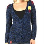 BNWT Designer HENLEYS Ladies Cardigan. Blue Leopard Print, Sequins, Embellished