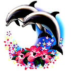 DOLPHINS OVER HIBISCUS T-SHIRT ALL SIZES (338)