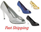 NEW WOMENS DIAMANTE SATIN PEEPTOE EVENING/ PARTY/ PROMS / BRIDESMAIDS SANDALS