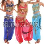 2 PC BELLY DANCE COSTUME SET GOLD HALTER TOP HAREM GENIE PANTS BOLLYWOOD DANCING