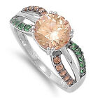 925 Sterling Silver Ring W/ Emerald Champagne Cubic Zirconia Stone CZ Sz. 5 to 9