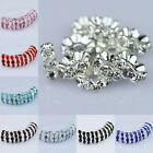 Wholesale Colorful Crystal Silver Spacer Loose Beads Jewelry Findings 10mm