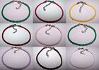 Braided Leather Bracelet Pink Red Brown White Lilac Green Yellow U Pick Colour