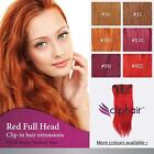RED Full Head Premium Clip in Human Hair Extensions