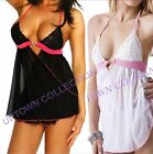 Ladies Sexy Lingerie sheer Babydoll Chemise Black White Pink with Diamante Heart