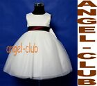Bur6078b BURGUNDY IVORY CHRISTENING PAGEANT INFANT DRESS Sz 6m 12m 18m 24m