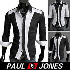 Mens Stylish Slim Fit Long Sleeve Patched Casual Shirts Designed BLK WHT