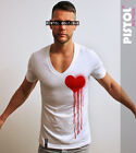 Pistol Boutique mens Deep V neck Small Spray Dribble heart white fashion t-shirt