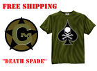 Tee Shirt Black Ink Design DEATH SPADE OLIVE DRAB 100% Cotton New T Small-3XL