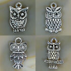 Metal Owl Silver Plated Pendant 10x16mm 12x20mm