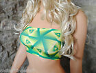 Boob Tube Lime & Dark Green Lycra Strapless BANDEAU Top Club Party Dancer B71a