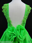 Toddler Girl National Glitz Pageant Low Cut Back Green Dress Size 1 2 3 4 5 6 7