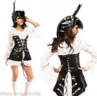 ☆ NEW Ladies 3 Piece Sexy Rogue Pirate + Hat Fancy Dress Full Costume Outfit ☆