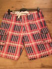 MENS MESH LINED RED CHECK  SWIM/BEACH SHORTS SIZES LARGE & X LARGE RRP £14
