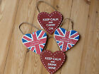 Keep Calm and...Wooden Heart Hanging Wall Door Sign Plaque Red or Union Jack