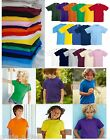 Fruit of the Loom Kids T-Shirt Blank Plain School PE Uniform Top Boys or Girls