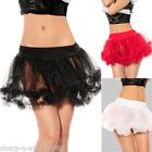 Ladies Black White Layered Ruffled Tulle Petticoat Tutu Skirt Fancy Dress 8-12